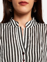 Load image into Gallery viewer, Black and White Striped Kurta Palazzo Set - The Wedding Brigade