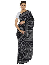 Load image into Gallery viewer, Black Bagru Print Saree