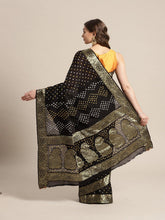 Load image into Gallery viewer, Black Bandhani Georgette Saree