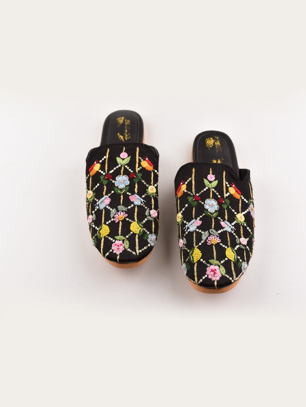 Black Floral Zardosi Embroidered Mules