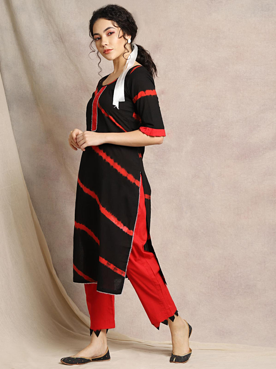 Black Gota Patti Kurta Pant Set