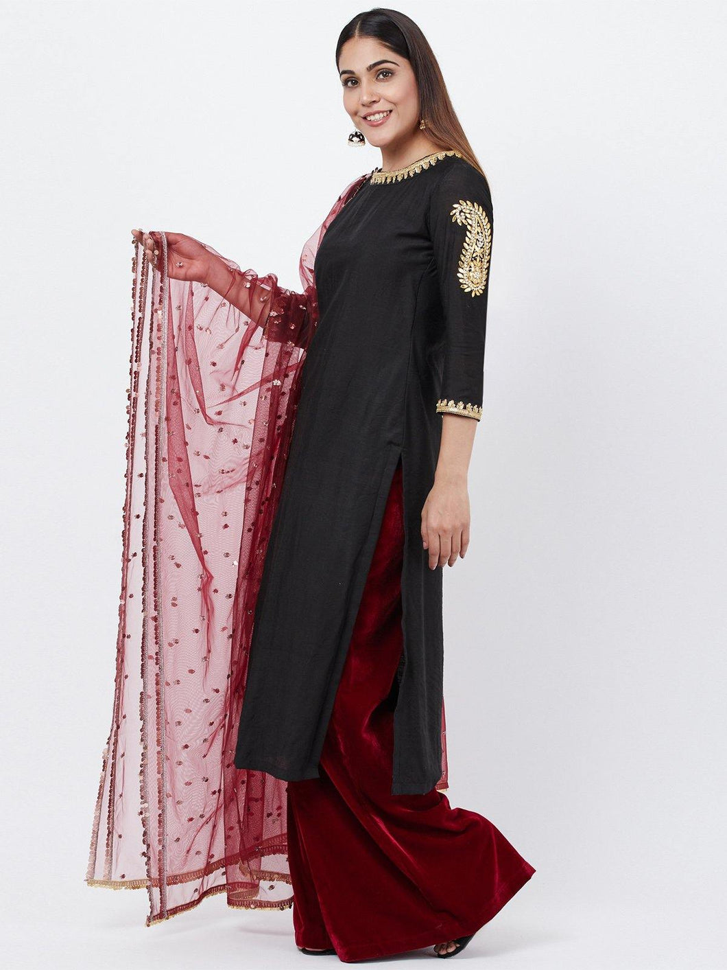 Black Paisley Palazzo Set with Dupatta