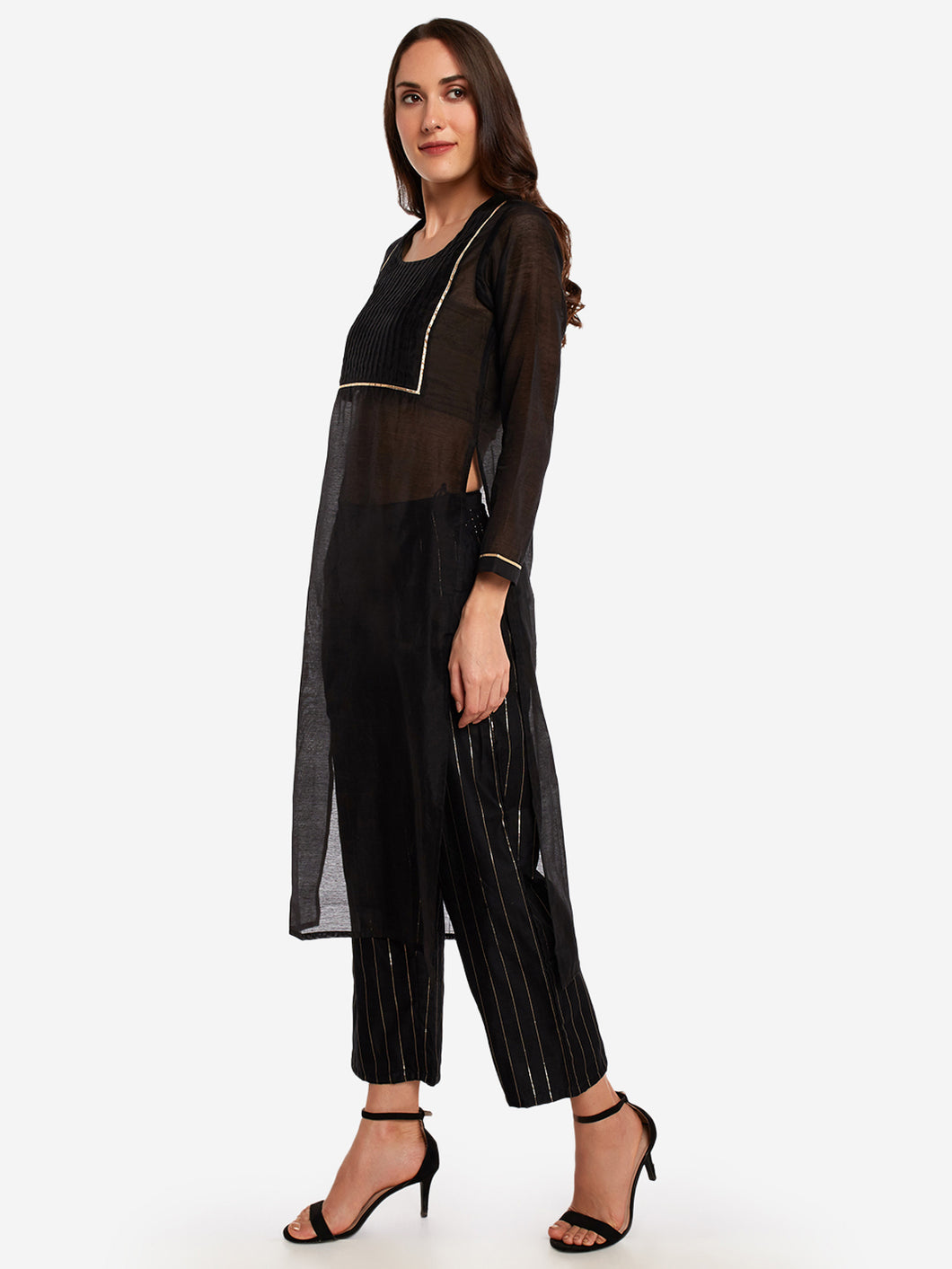 Black Pleated Kurta Pant Set
