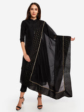 Load image into Gallery viewer, Black Solid Gota Patti Dupatta