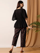 Load image into Gallery viewer, Black Solid Top And Hand Blocked Pant Set
