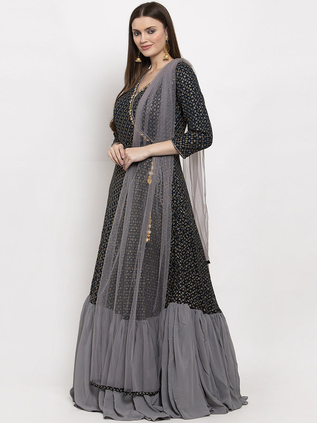 Blue and Grey Angrakha Dress Set