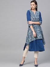 Load image into Gallery viewer, Blue Asymmetric Two Layered Kurta