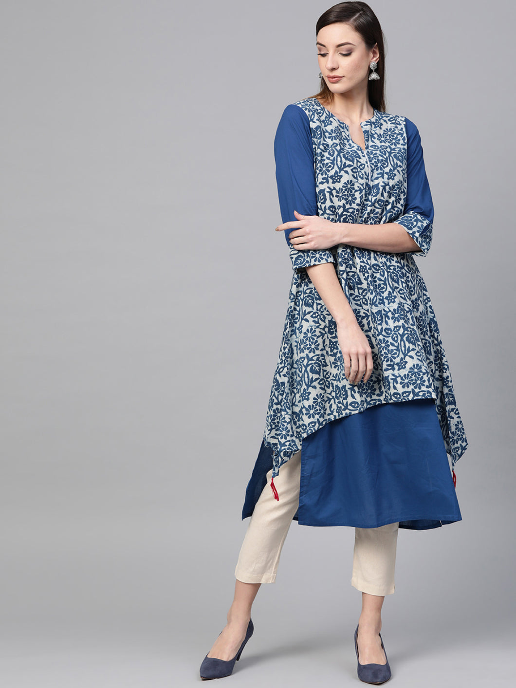 Blue Asymmetric Two Layered Kurta