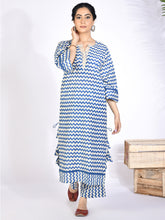 Load image into Gallery viewer, Blue Chevron Printed Kurta Palazzo Set