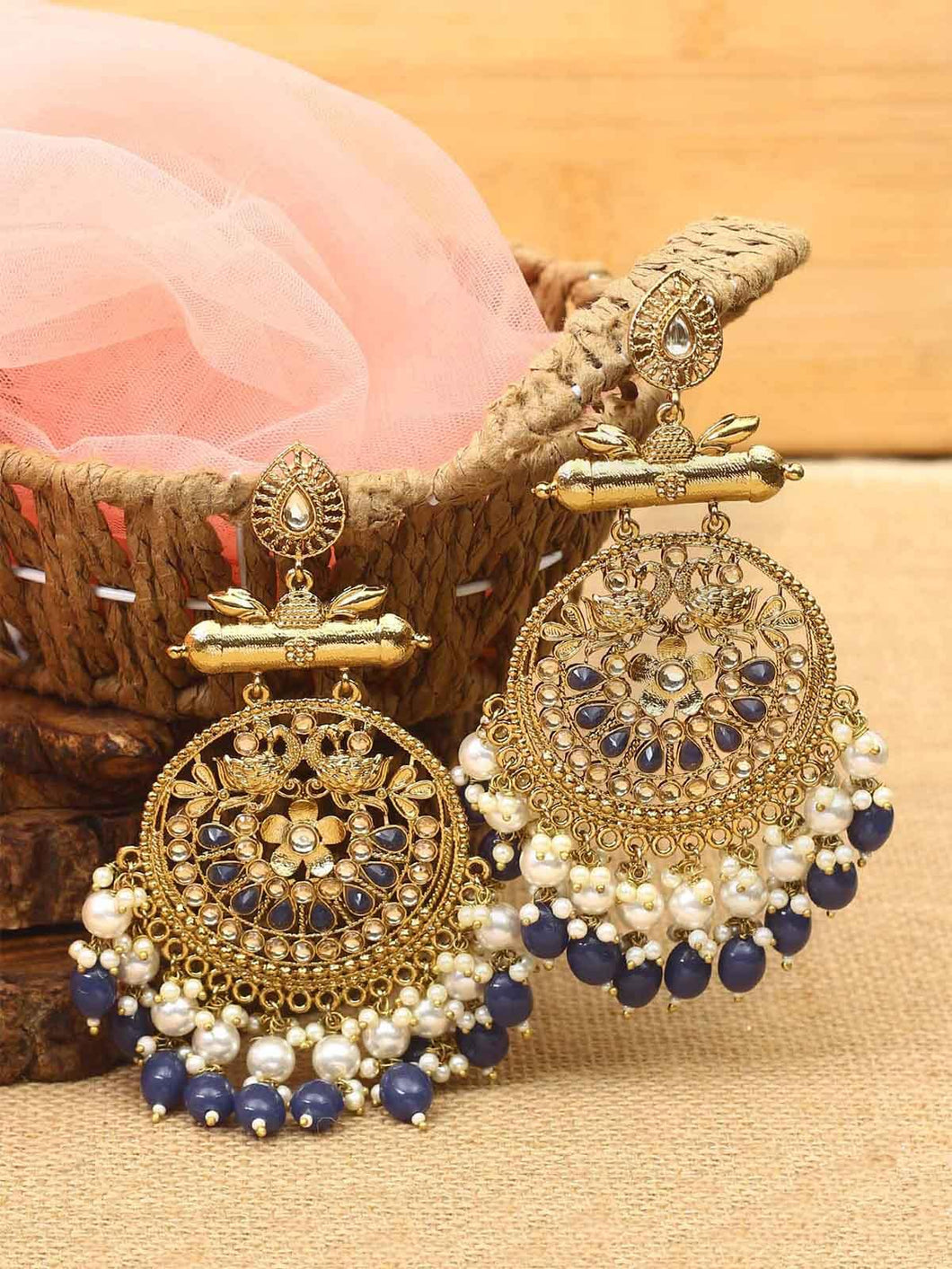 Blue Earrings with Beads