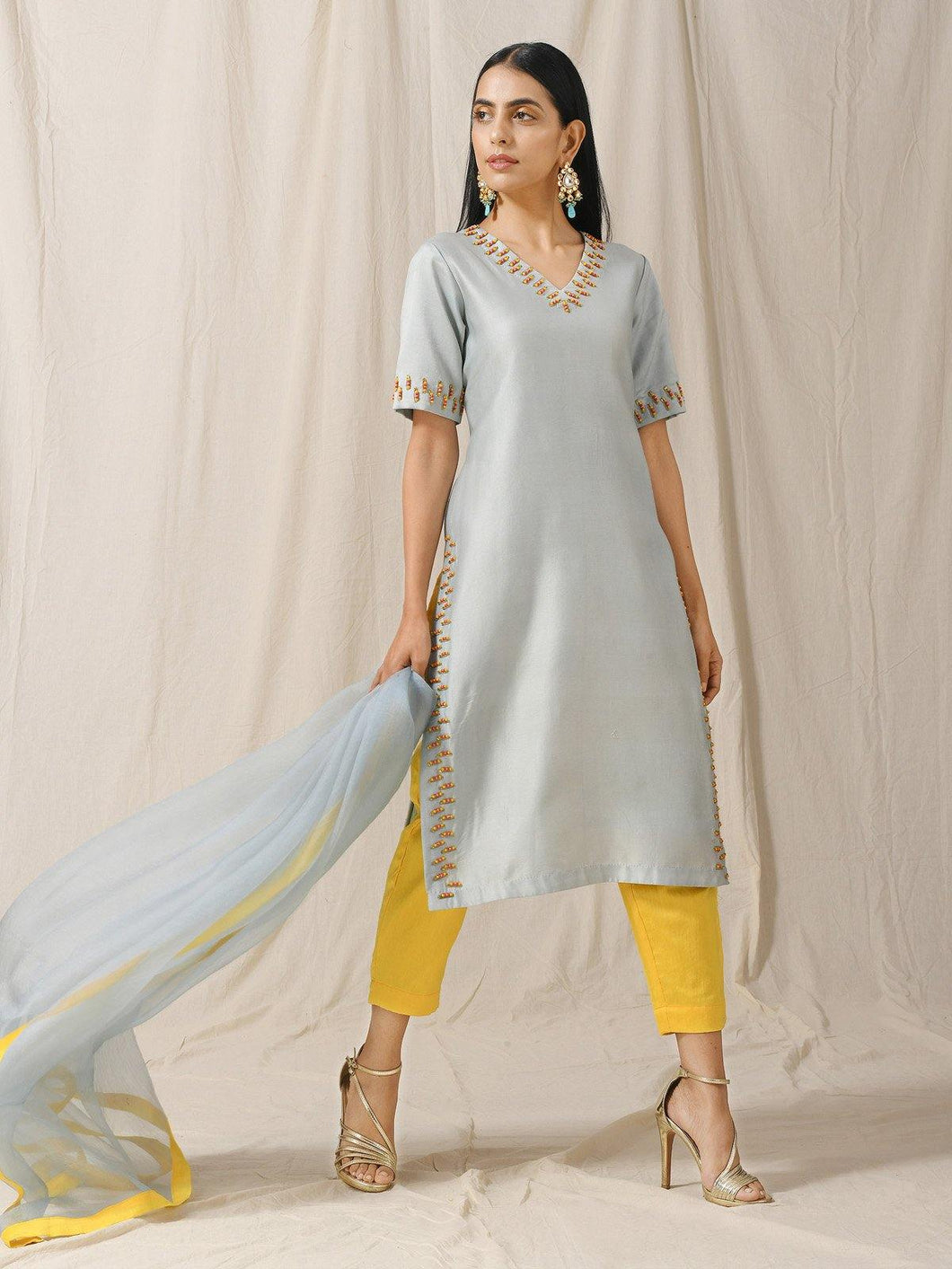 Blue Embellished Kurta Pant Set - The Wedding Brigade