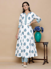 Load image into Gallery viewer, Blue Hand Block Anarkali Set