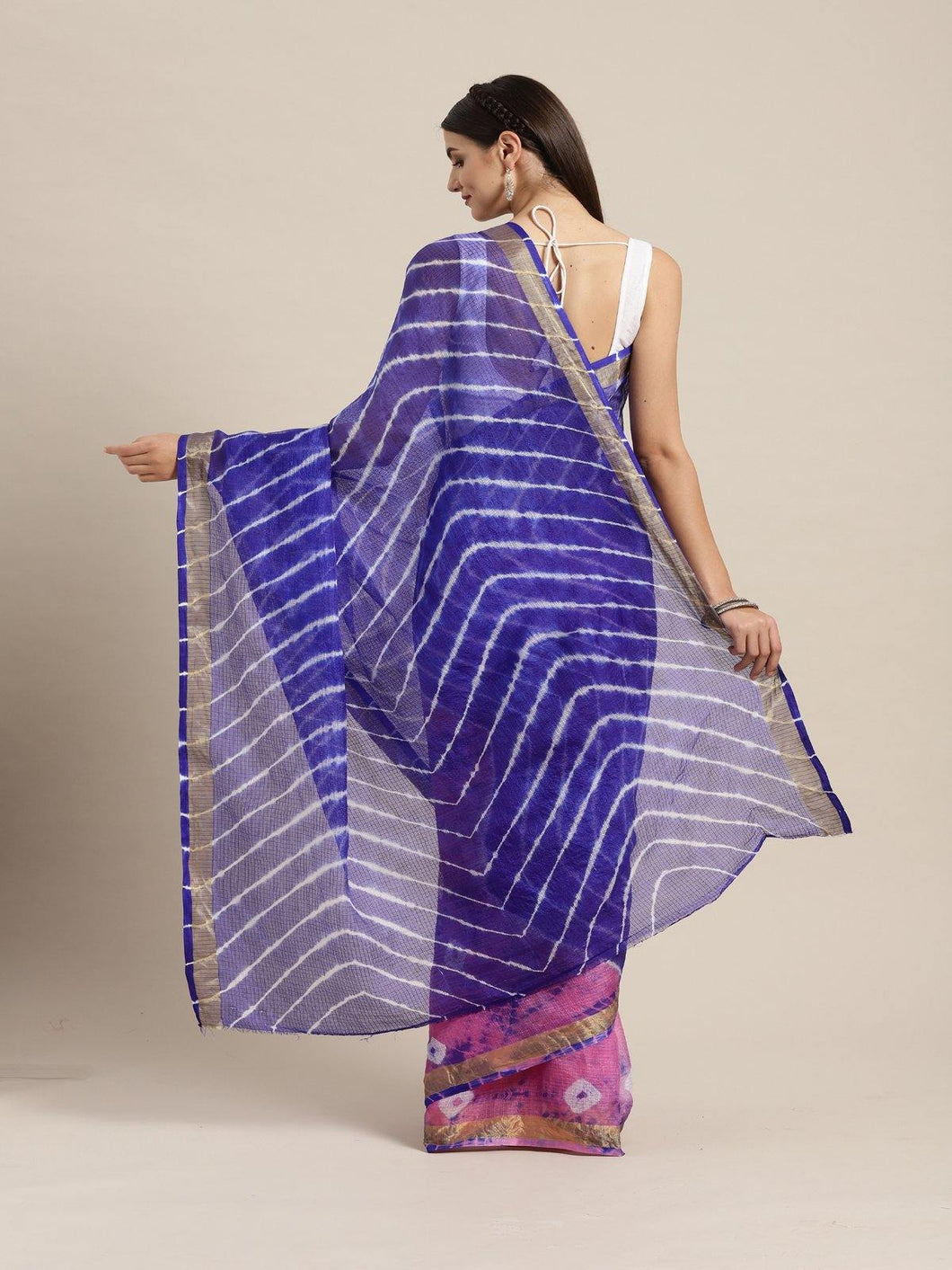 Blue Kota Art Leheriya Saree