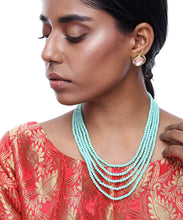 Load image into Gallery viewer, Blue Multi Layered Necklace and Earrings Set