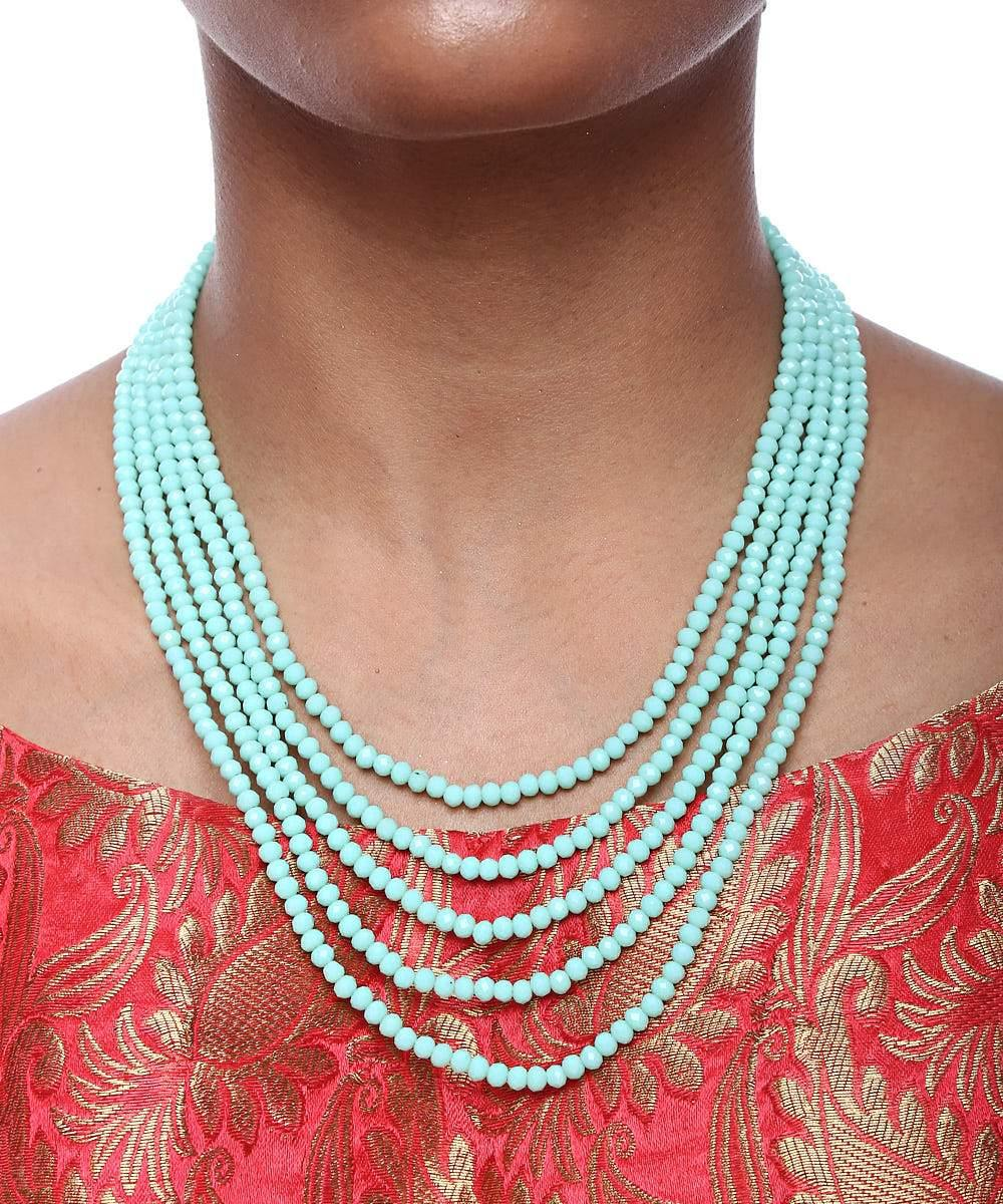 Blue Multi Layered Necklace and Earrings Set