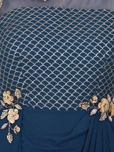 Load image into Gallery viewer, Blue Net Embroidered Long Dress