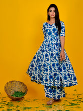 Load image into Gallery viewer, Blue Printed Anarkali Palazzo Set