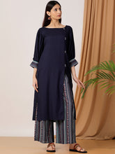 Load image into Gallery viewer, Blue Printed Kurta Palazzo Set