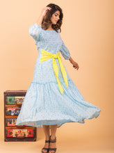 Load image into Gallery viewer, Blue Printed Ruffled Dress
