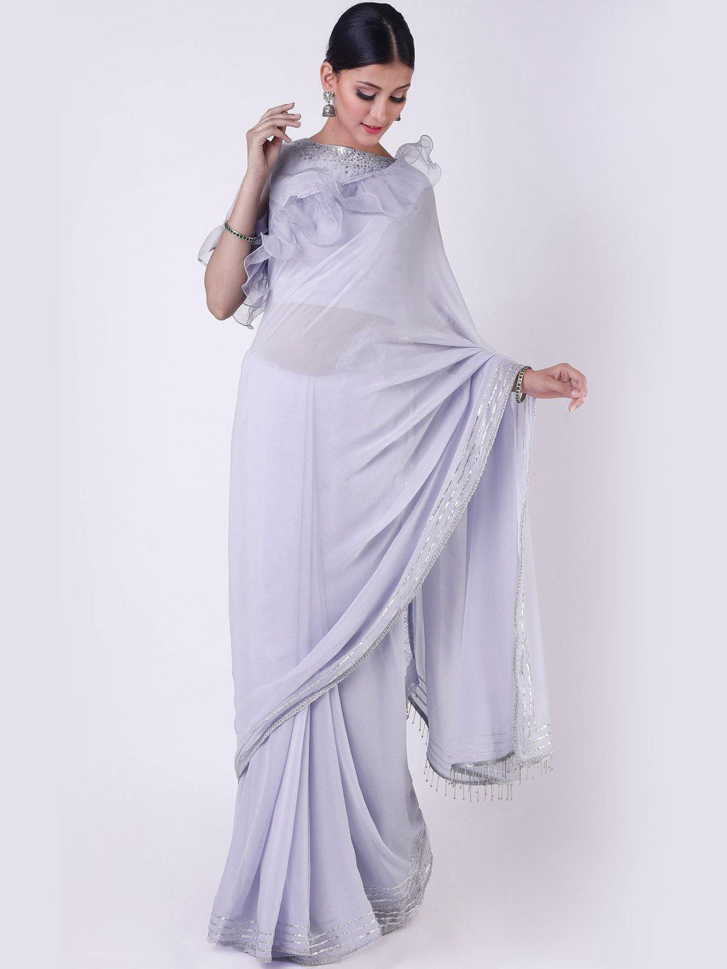 Blue Ruffled Saree with Unstitched Blouse