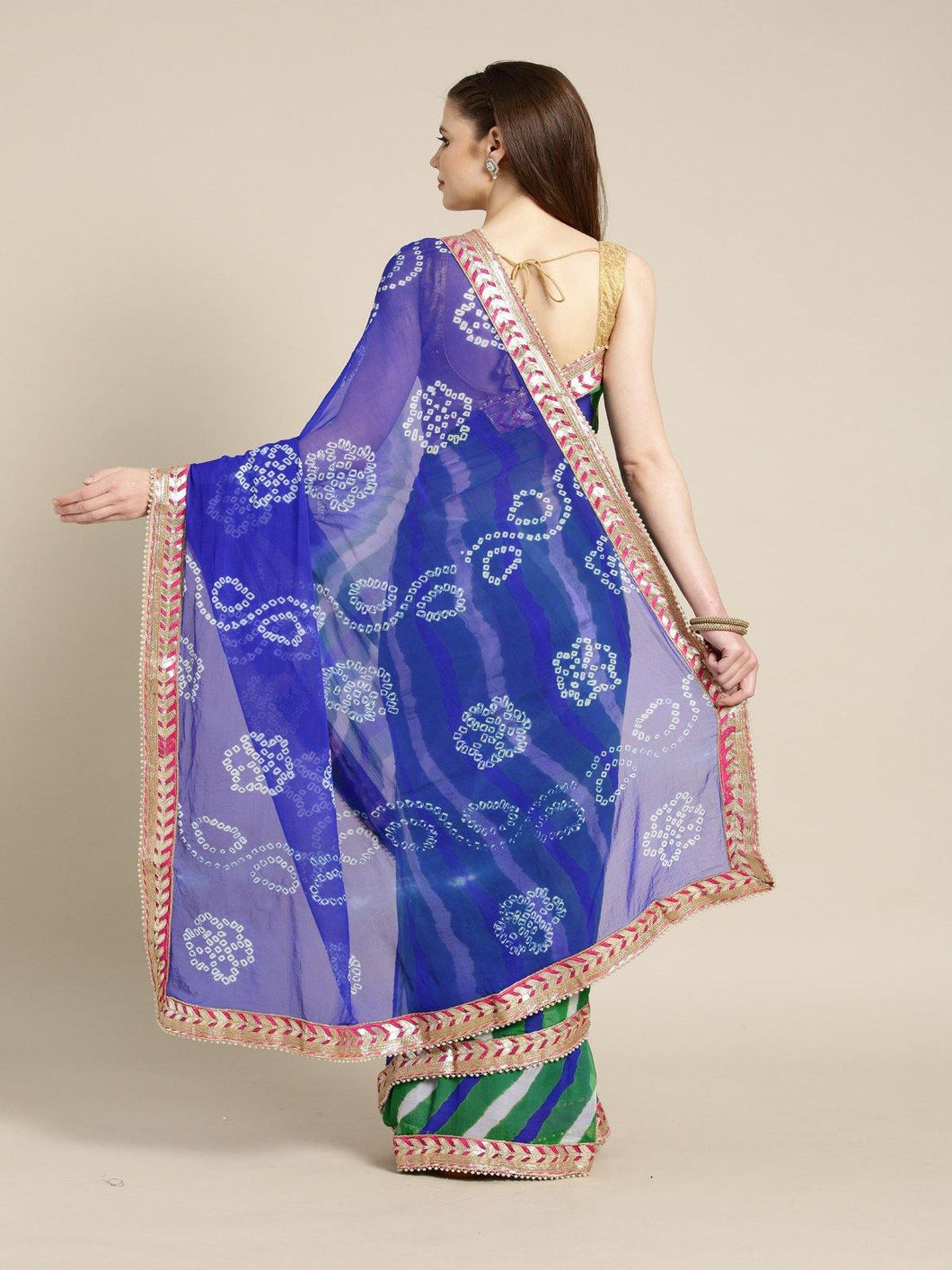 Blue Shaded Hand Dyed Chiffon Saree