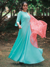 Load image into Gallery viewer, Blue Solid Anarkali Set