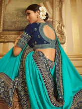 Load image into Gallery viewer, Blue Solid Embroidery Saree