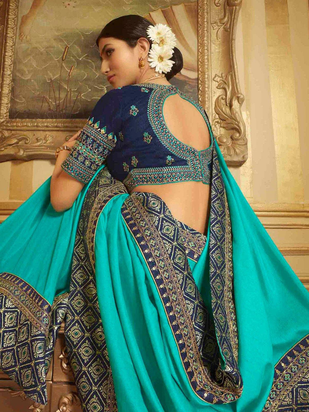 Blue Solid Embroidery Saree
