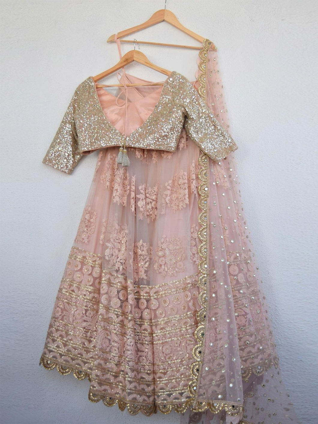 Blush Mirror & Pearl Sequin Lehenga Set