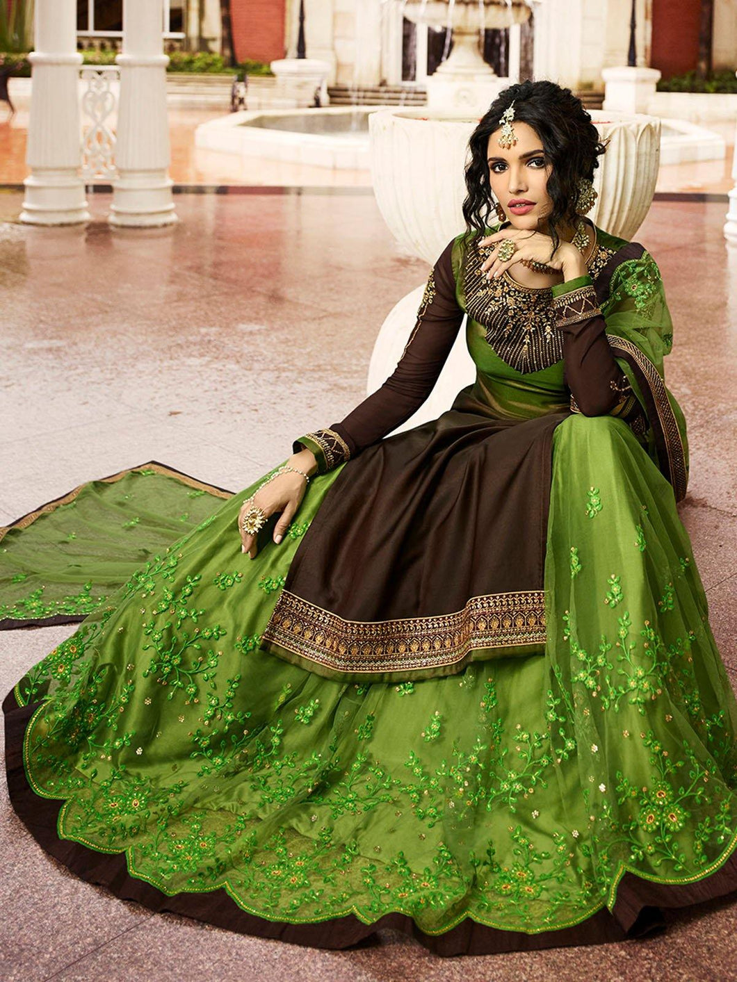 Brown and Olive Semi-Stitched Lehenga Set