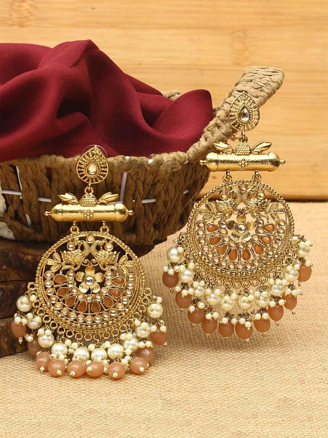 Brown Basra Pearl Danglers
