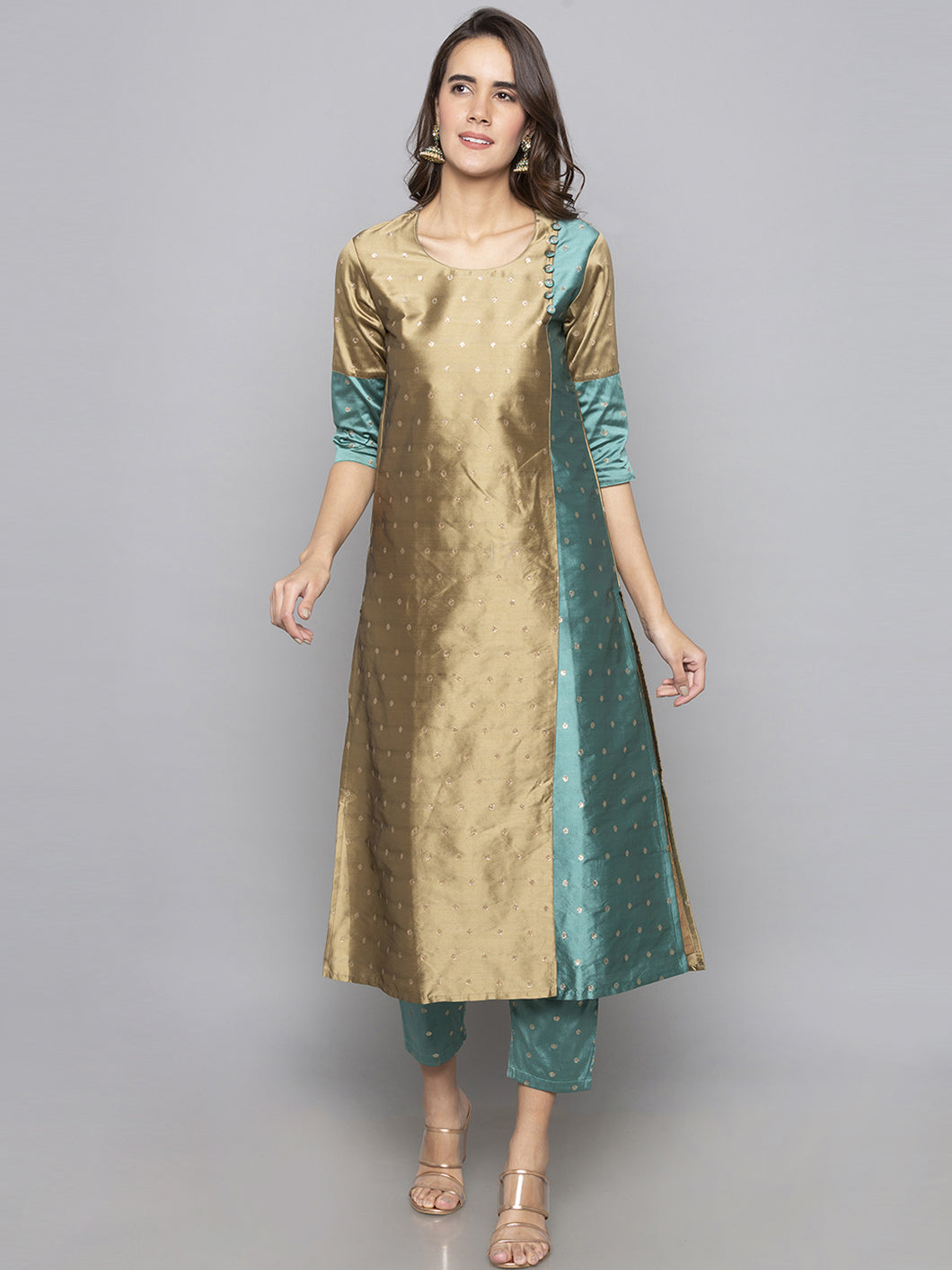 Brown Embroidered A line Kurta