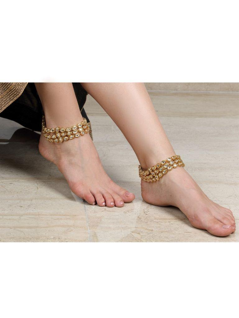 The Tri Layered Kundan Anklet - The Wedding Brigade