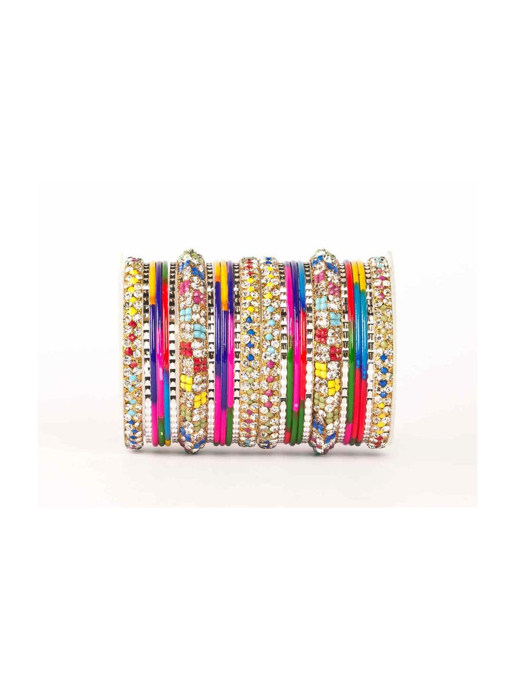 Multi Color Lac Stone Embellished Bangle Set