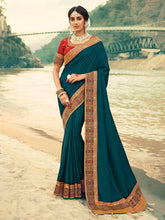 Load image into Gallery viewer, Cobalt Blue Zari Embroidered Saree