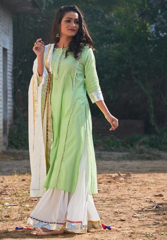 Cotton Candy Green Kurta and Sharara Set with Dupatta - The Wedding Brigade