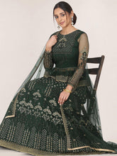 Load image into Gallery viewer, Dark Green Semi-Stitched Zari Embroidered Lehenga Choli Set