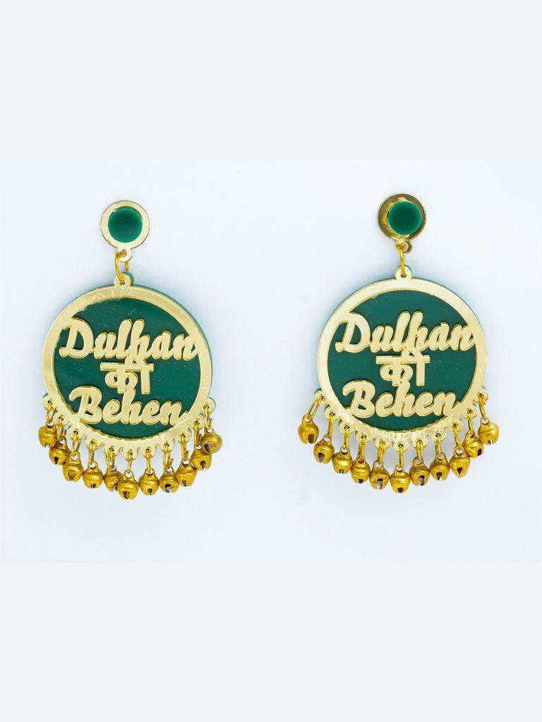Green and Gold Dulhan Ki Behan Earrings