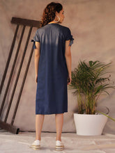 Load image into Gallery viewer, Denim Blue A-line Midi Dress