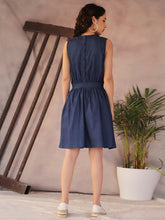 Load image into Gallery viewer, Denim Blue Skater Mini Dress