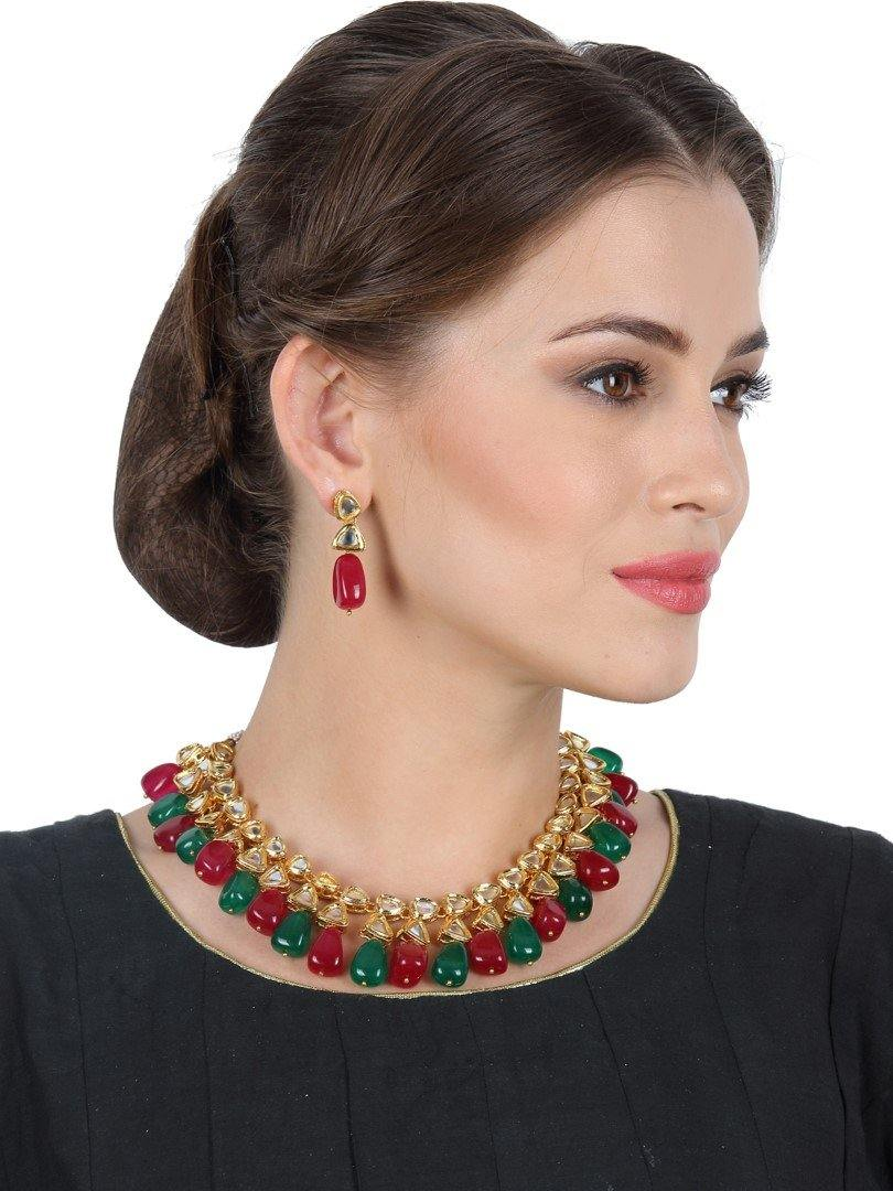 Double Kundan Stone Neckpiece with Earrings