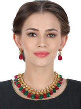 Load image into Gallery viewer, Double Kundan Stone Neckpiece with Earrings