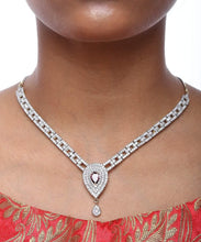 Load image into Gallery viewer, Drop Shape Diamond Necklace with Earrings