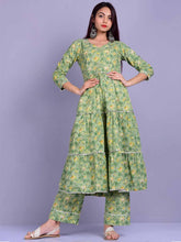 Load image into Gallery viewer, Dusty Green Floral Anarkali Set