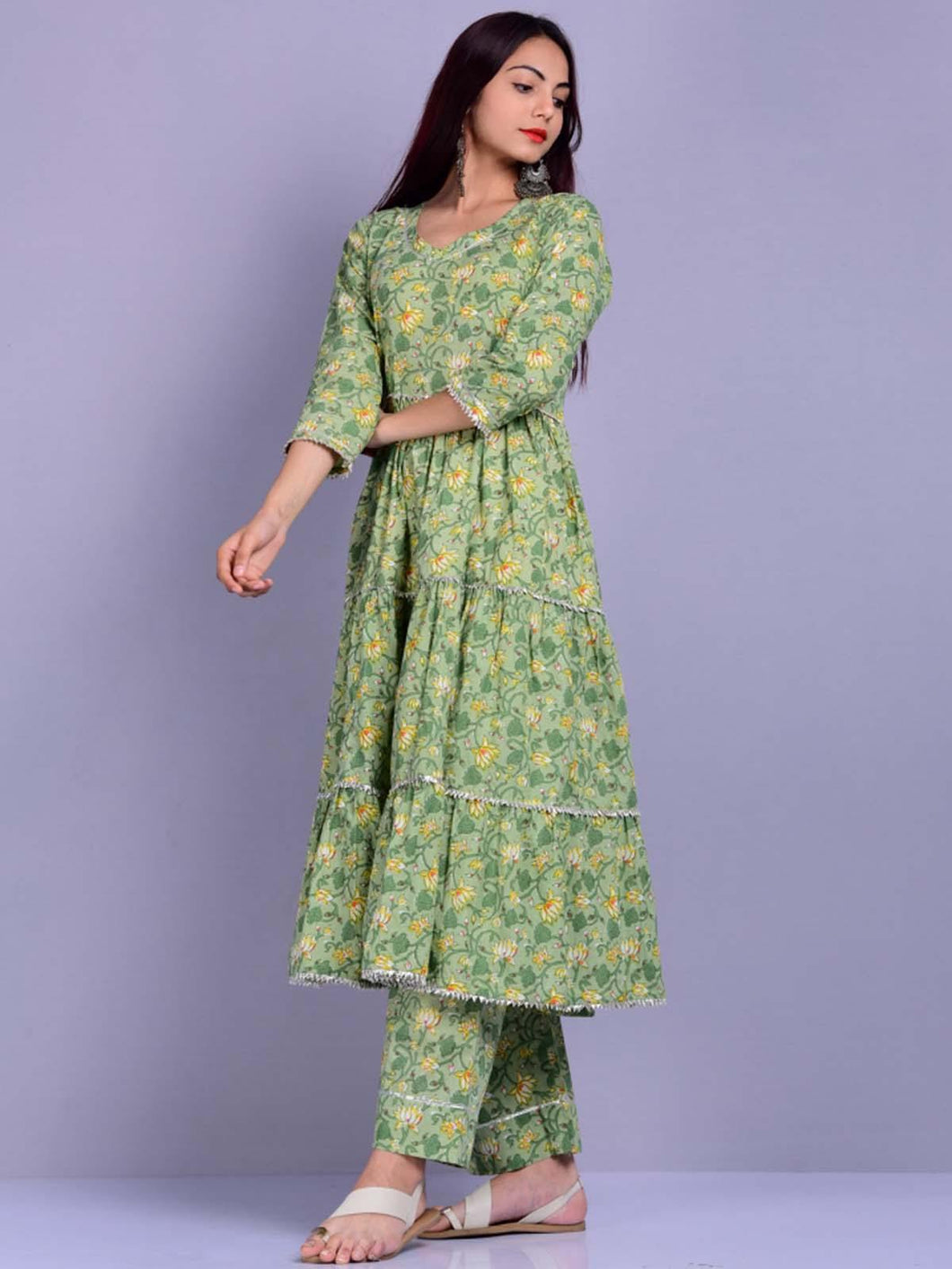 Dusty Green Floral Anarkali Set