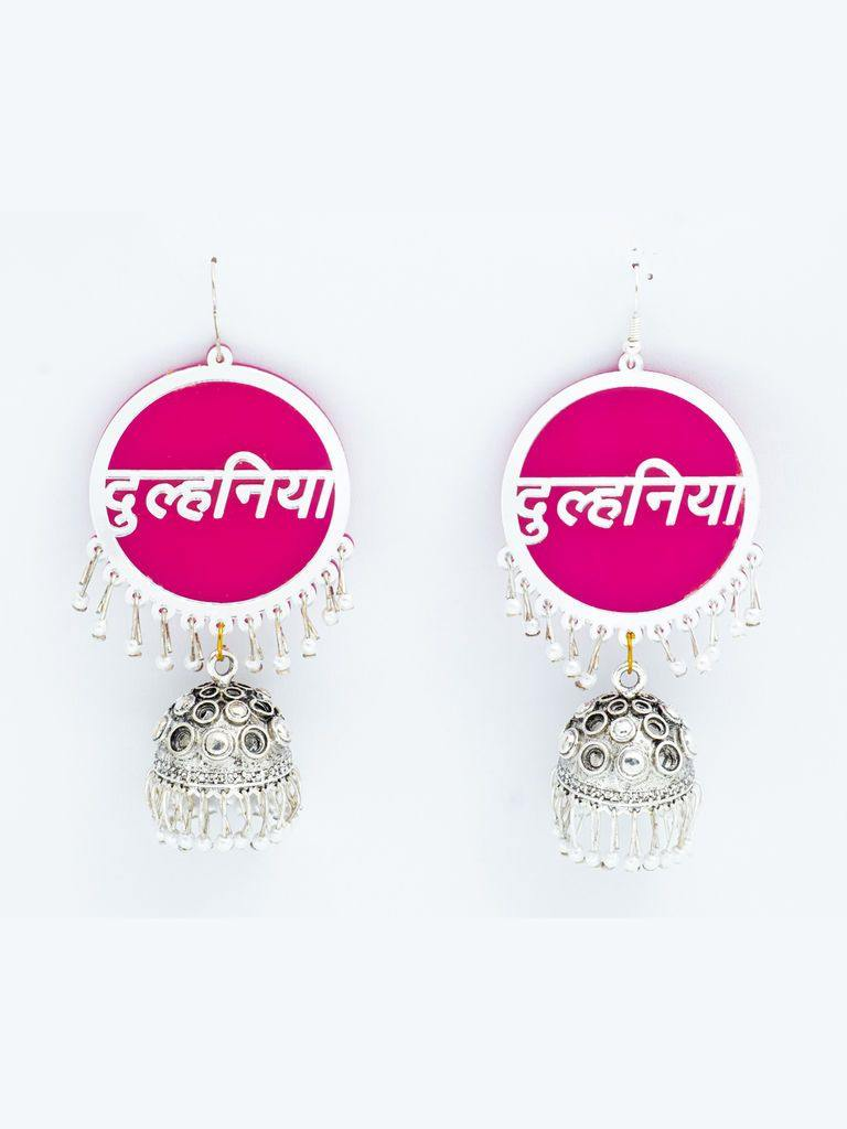 Pink Dulhaniya Jhumkis - The Wedding Brigade