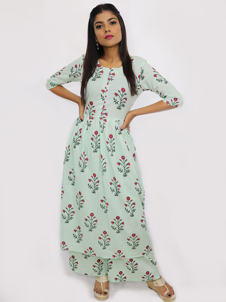Mint Green Block Printed Kurta and Palazzo