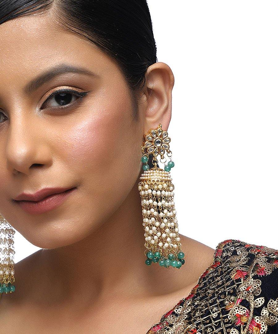 Emerald Flower Kundan Earrings
