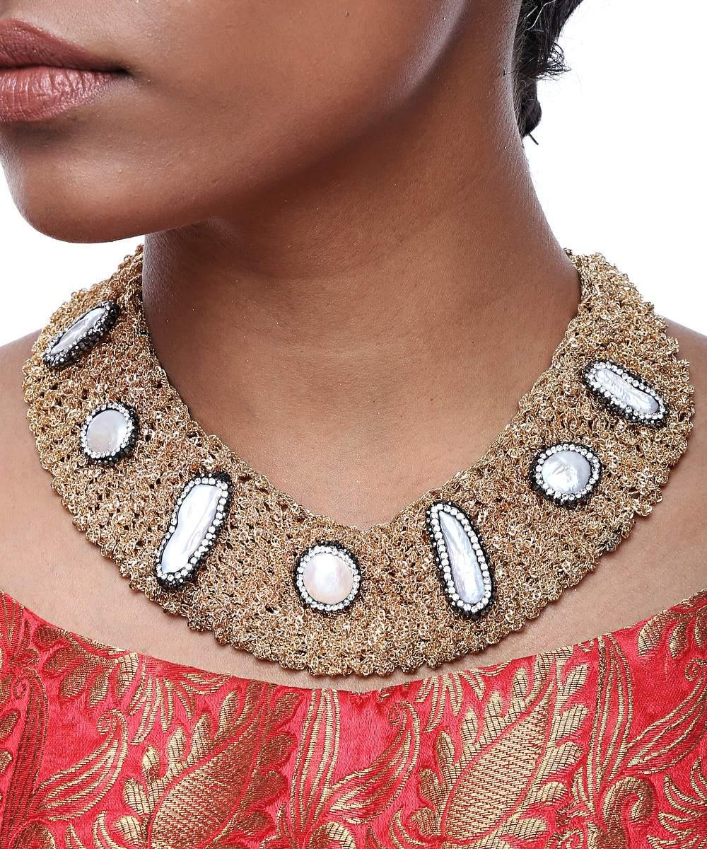 Entangled Pearl Embellished Neck Piece