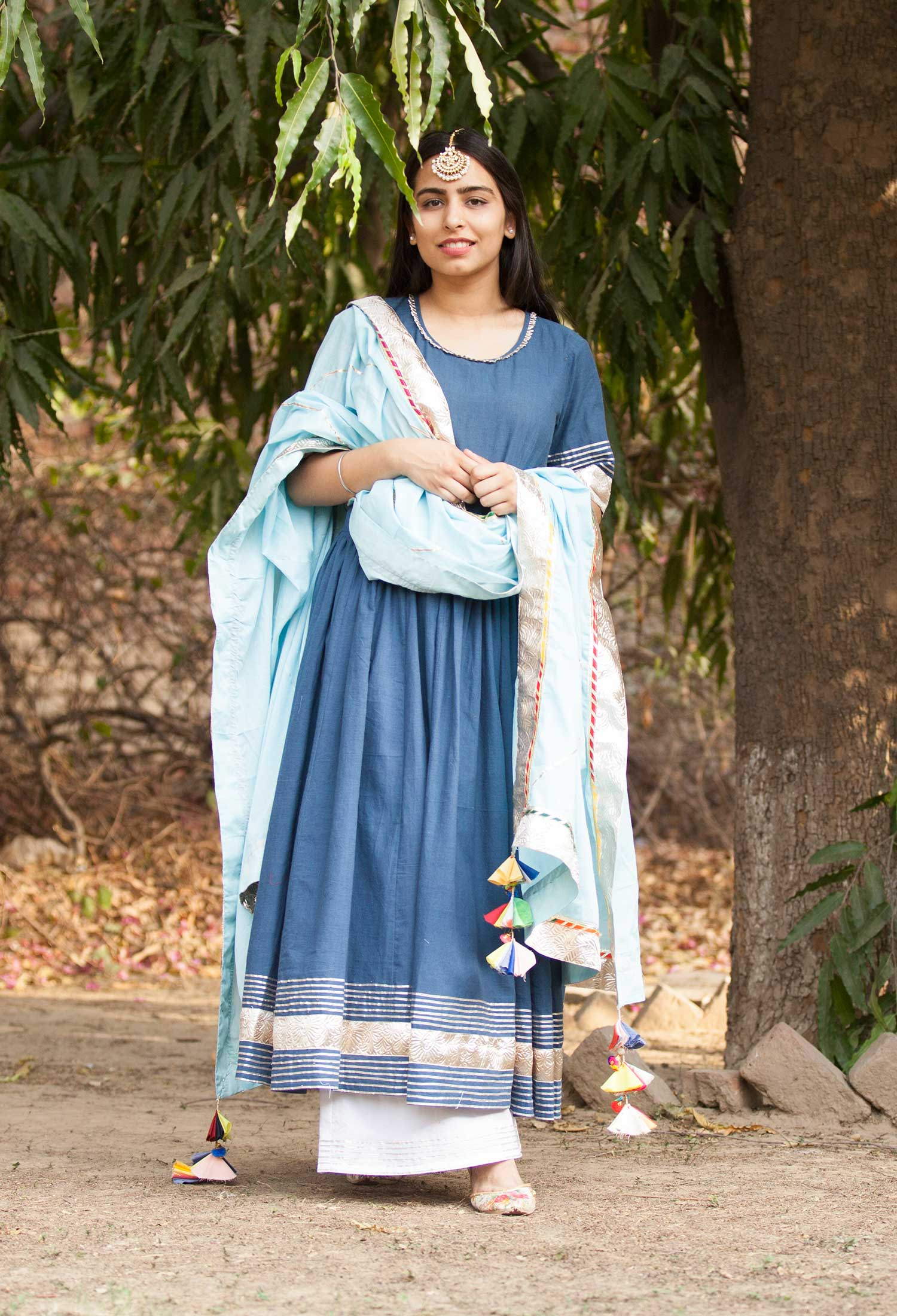 Indigo Anarkali Set with Dupatta
